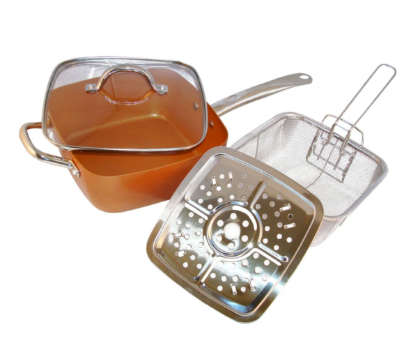 Μαγειρικό σκεύος – τηγάνι μπρονζέ 6 σε 1! (24cm)