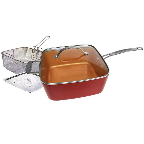 Μαγειρικό σκεύος- τηγάνι μπρονζέ  6 σε 1! (28cm)